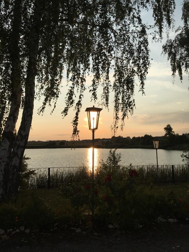 Riegersburg See Sonne in Laterne hoch