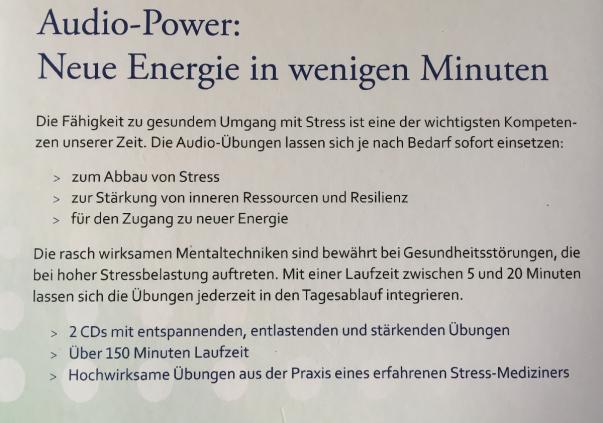 CD Stress verwandeln in Energie Rückseite